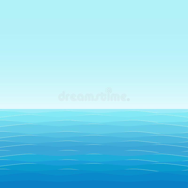 Bakgrund: blått hav med små vågor royaltyfri illustrationer