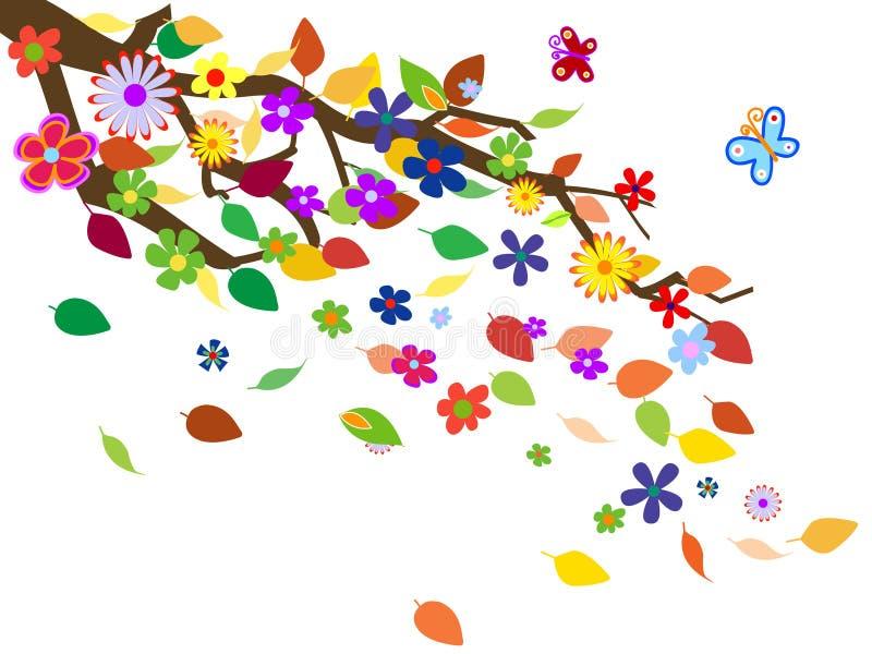 bakgrund blommar fjädervect stock illustrationer