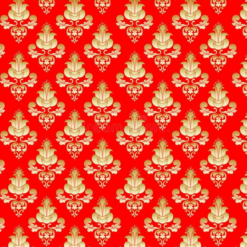 bakgrund blommar guldred stock illustrationer