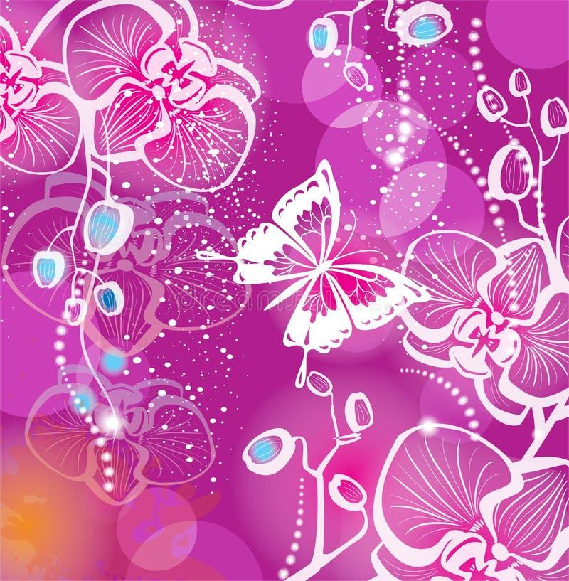 bakgrund blommar orchiden stock illustrationer