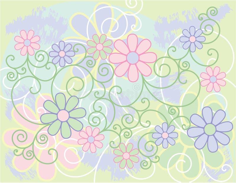 bakgrund blommar scrolls stock illustrationer
