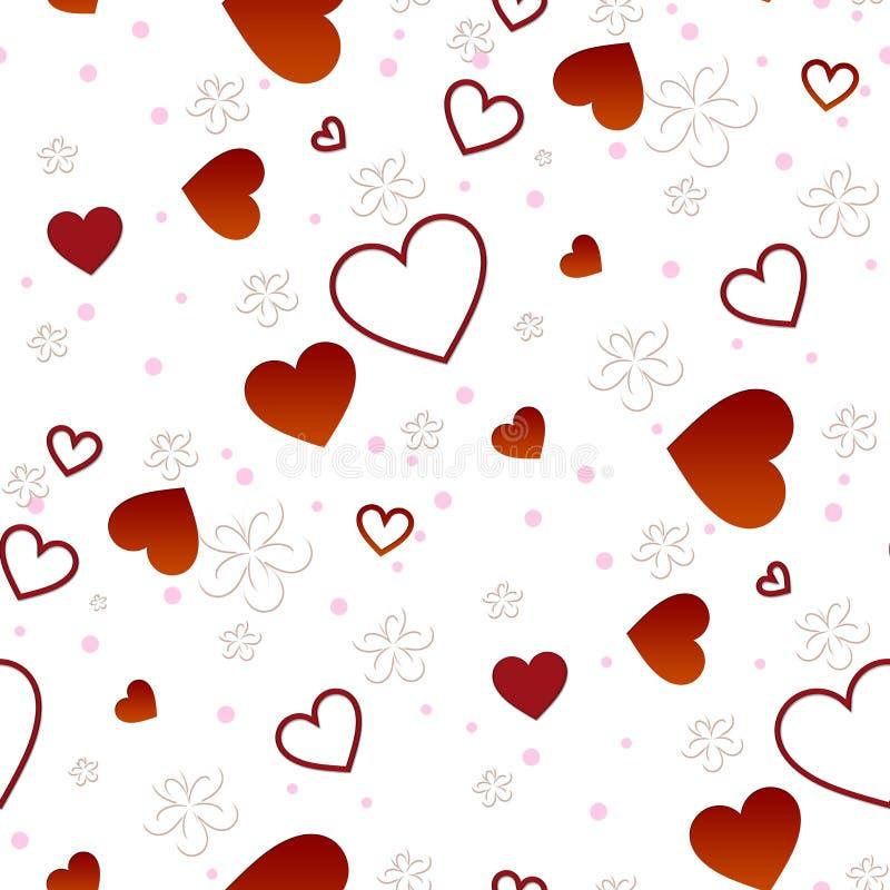 bakgrund blommar seamless hjärtor vektor illustrationer