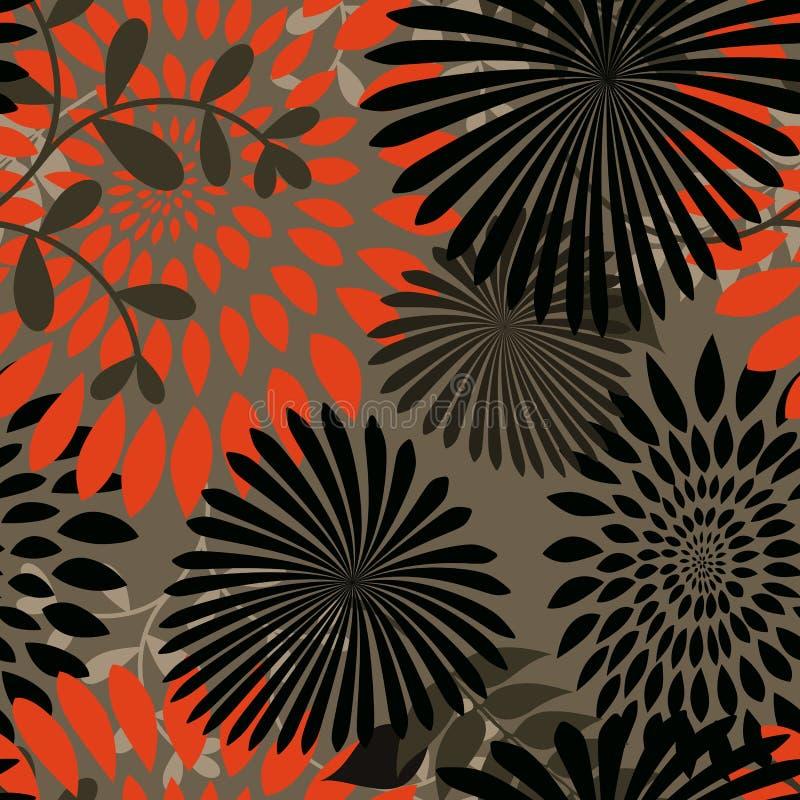 bakgrund blommar seamless leaves stock illustrationer