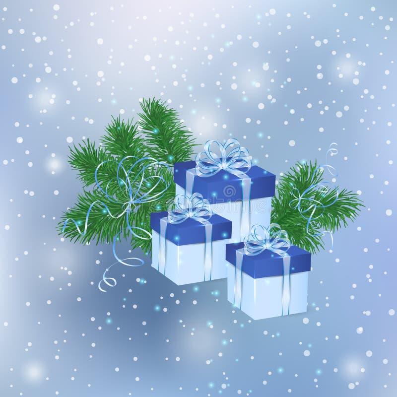 bakgrund boxes julgåvan stock illustrationer