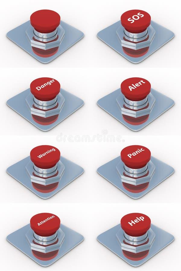 bakgrund buttons set white för red stock illustrationer