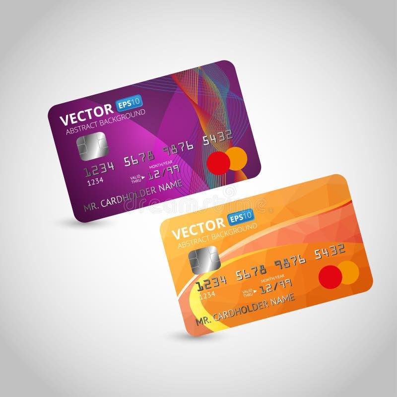 bakgrund cards krediteringswhite också vektor för coreldrawillustration royaltyfri illustrationer