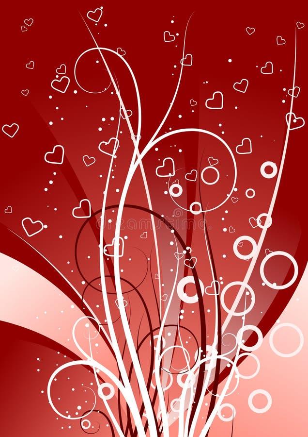 bakgrund cirklar idérik vect för hjärtascrollsformer royaltyfri illustrationer