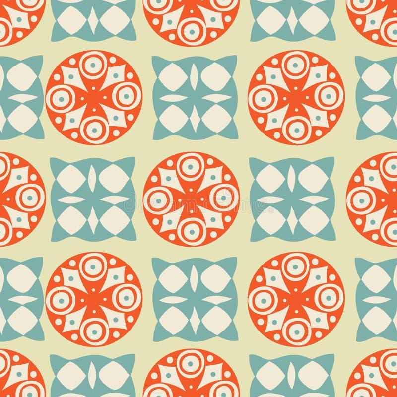 bakgrund cirklar seamless squar tappning vektor illustrationer