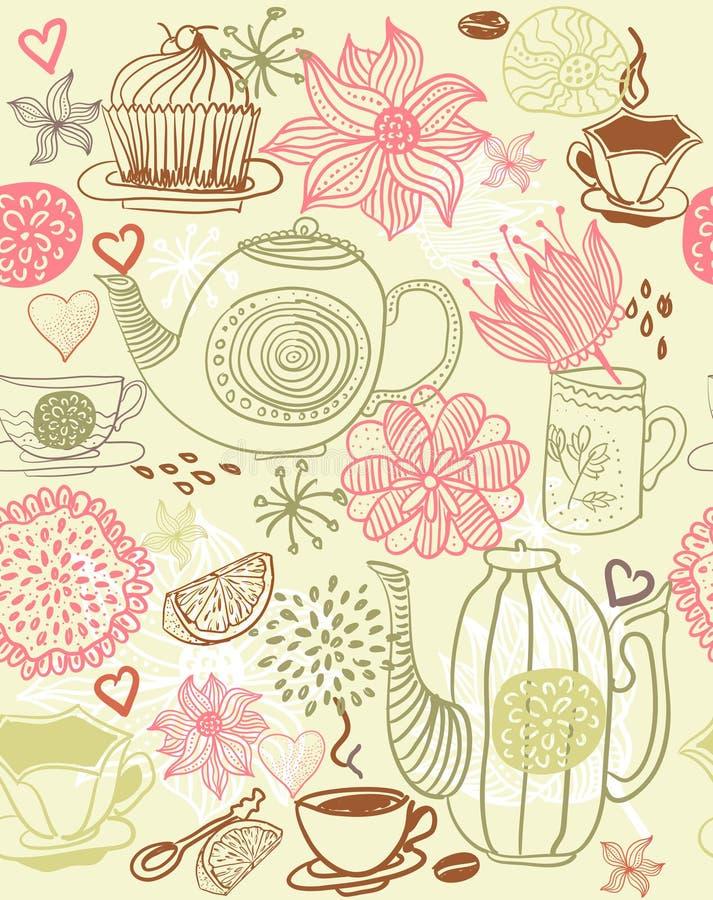 bakgrund cups blom- seamless teapots royaltyfri illustrationer