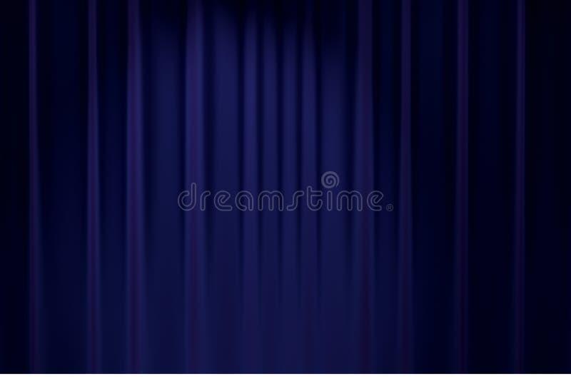 Bakgrund 3D för teatern för den blåa etappbakgrundgardinen framför klassisk stock illustrationer