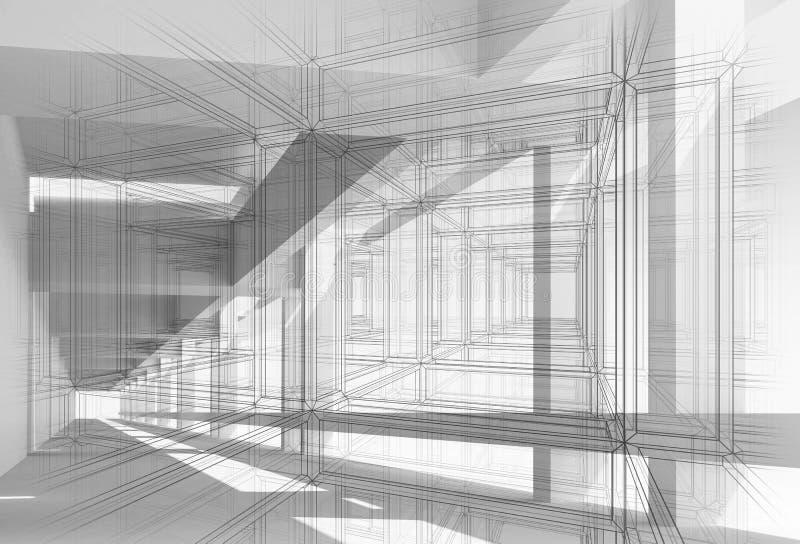 bakgrund 3d med den vita digitala korridoren stock illustrationer