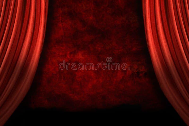 bakgrund draperar grungeetappen royaltyfri illustrationer