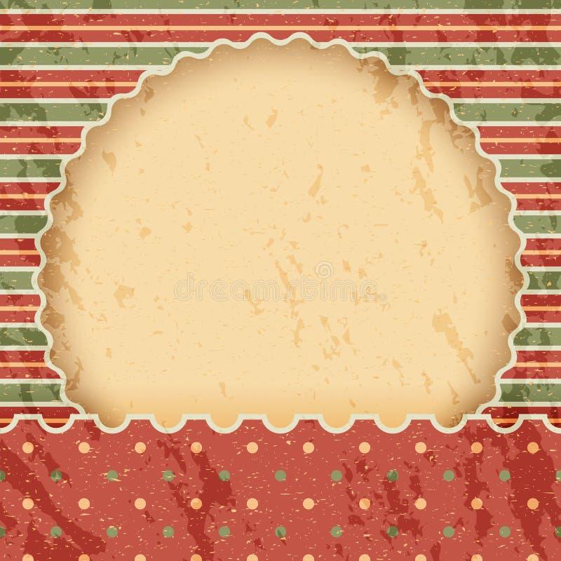 Bakgrund eller ram för jultappningpapper Röd och grön klassisk stil vektor illustrationer