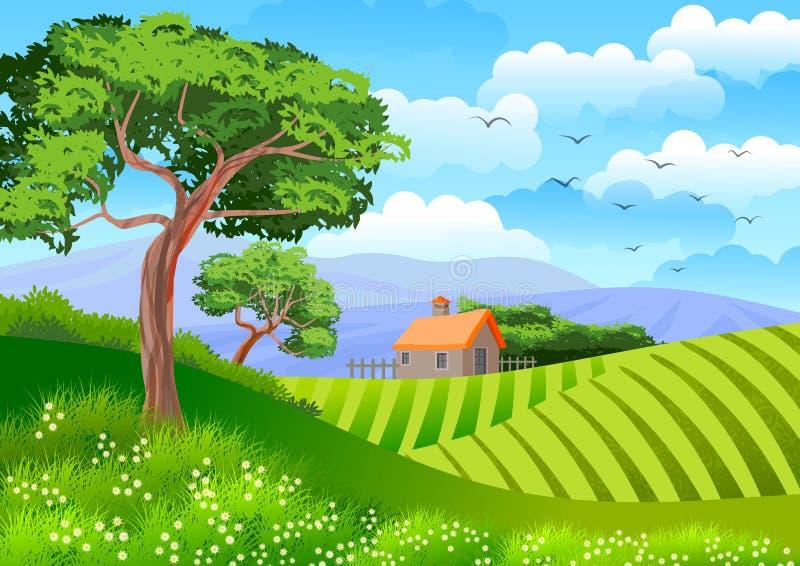 Bakgrund eller tapet med illustrationen med naturligt landskap Träd, kultiverade fält och en stuga vektor illustrationer