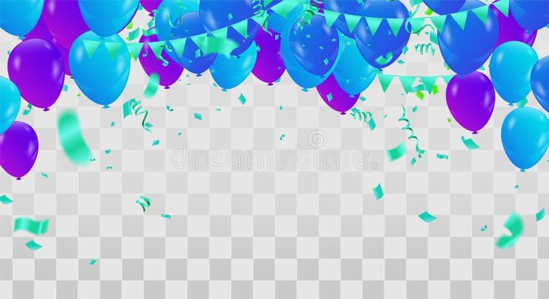 Bakgrund eps för beröm för ballonger för lycklig födelsedag färgrik royaltyfri illustrationer