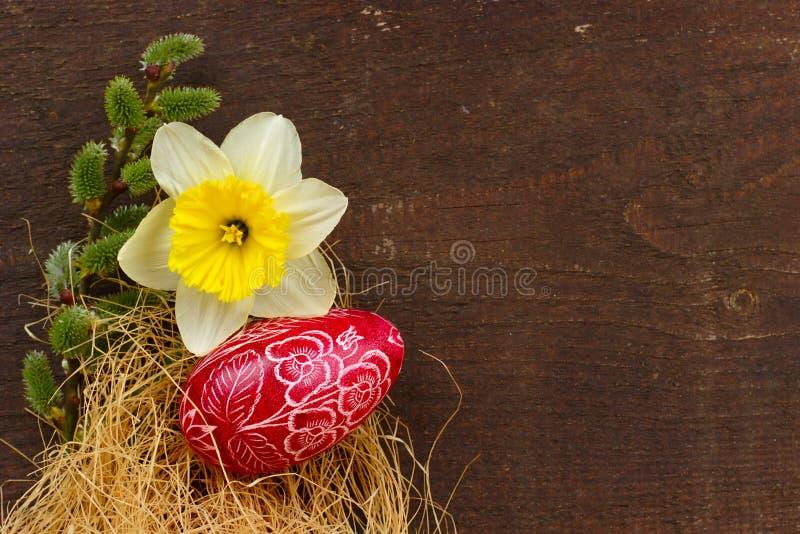 bakgrund färgade vektorn för tulpan för formatet för easter ägg eps8 den röda arkivbild