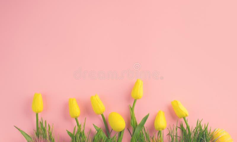 bakgrund färgade vektorn för tulpan för formatet för easter ägg eps8 den röda Ljusa gula ägg och blommande tulpanblommor för livl arkivbilder