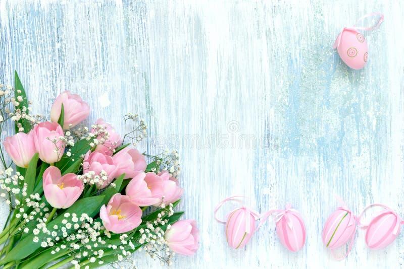 bakgrund färgade vektorn för tulpan för formatet för easter ägg eps8 den röda Rosa ägg för dekorativ påsk och rosa tulpan på blå  arkivfoton