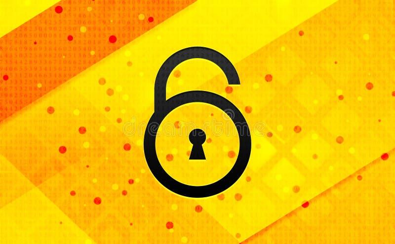 Bakgrund för öppet baner för symbol för hänglås gul abstrakt digitalt royaltyfri illustrationer