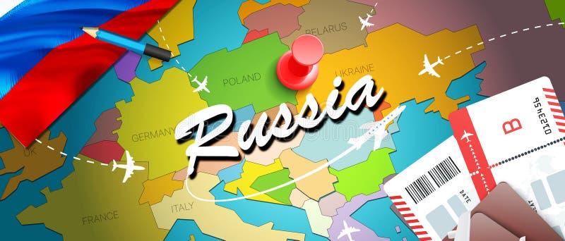 Bakgrund för översikt för Ryssland loppbegrepp med nivåer, biljetter BesökRyssland lopp och turismdestinationsbegrepp Ryssland fl vektor illustrationer