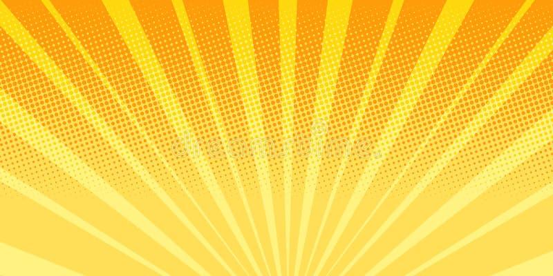 Bakgrund för abstrakt begrepp för apelsinstrålsoluppgång royaltyfri illustrationer