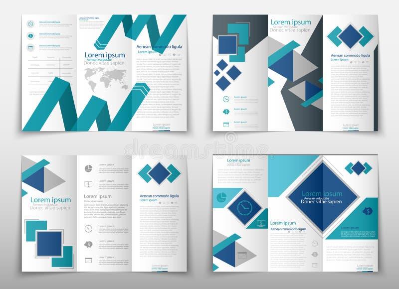 Bakgrund för abstrakt begrepp för broschyrräkningspresentationen viker geometrisk, orientering i blått för format A4 den faststäl vektor illustrationer