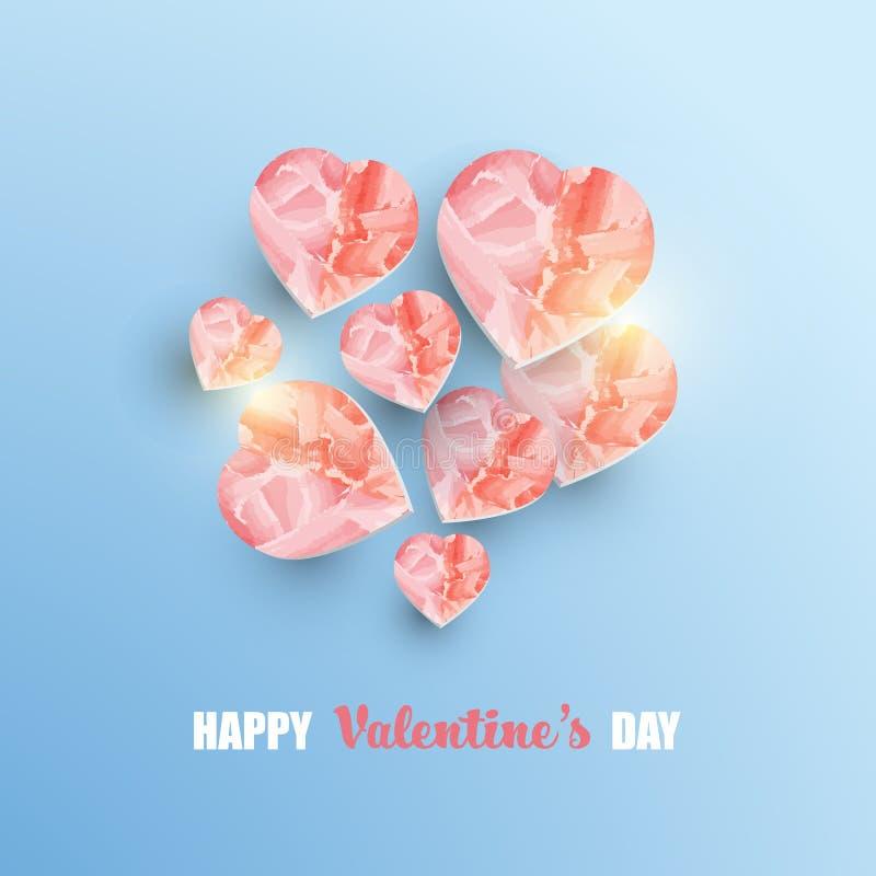 Bakgrund för abstrakt begrepp för dag för valentin` s med former för hjärta som 3d målas med rosa vattenfärg på gräns - blå bakgr vektor illustrationer
