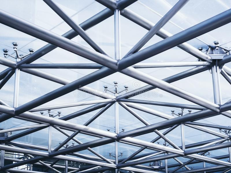 Bakgrund för abstrakt begrepp för detalj för arkitektur för stålstruktur royaltyfria bilder
