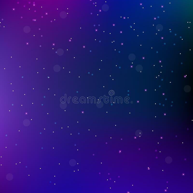 Bakgrund för abstrakt begrepp för himmelnattutrymme med stjärnor Universumbakgrund också vektor för coreldrawillustration stock illustrationer
