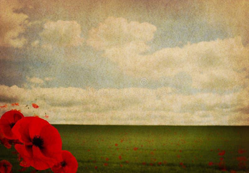 Bakgrund för abstrakt begrepp för krig för värld WW1 första med vallmo arkivfoton
