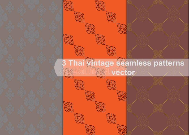 Bakgrund för abstrakt begrepp för vektor för modeller för thai stil för tappning sömlös stock illustrationer