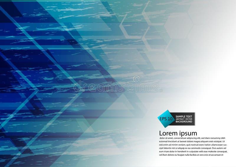 Bakgrund för abstrakt begrepp för modern design för blå färg geometrisk med kopieringsutrymme, vektorillustration stock illustrationer