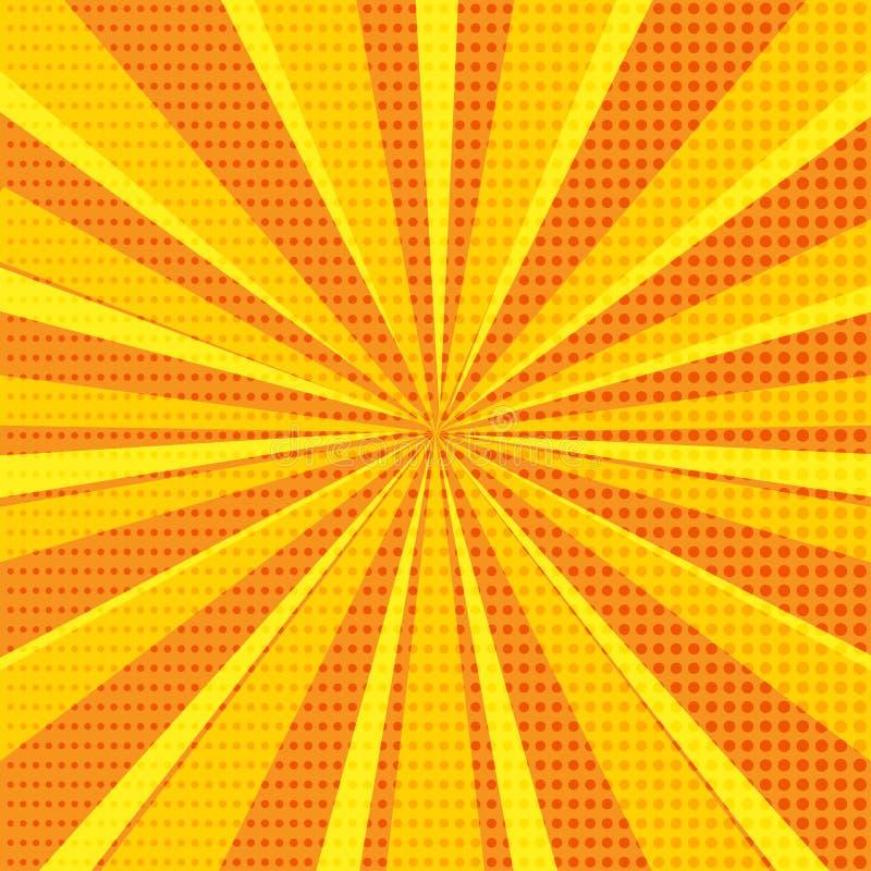 Bakgrund för abstrakt begrepp för popkonst med orange solstrålar och rastrerade prickar också vektor för coreldrawillustration stock illustrationer