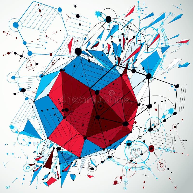 bakgrund för abstrakt begrepp för vektor som 3d färgrik skapas i retro Bauhaus royaltyfri illustrationer