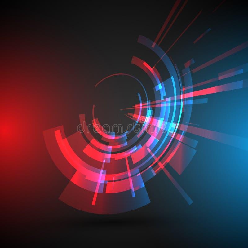 Bakgrund för abstrakt begrepp för vetenskap för Techno geometrisk vektorcirkel vektor illustrationer