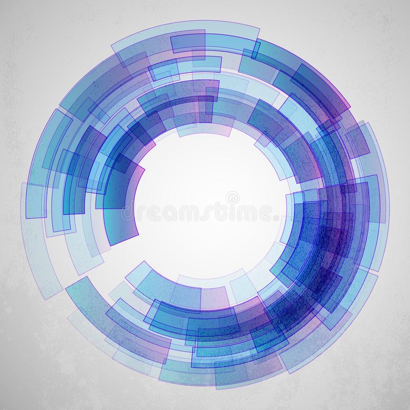 Bakgrund för abstrakt begrepp för vetenskap för Techno geometrisk vektorcirkel royaltyfri illustrationer