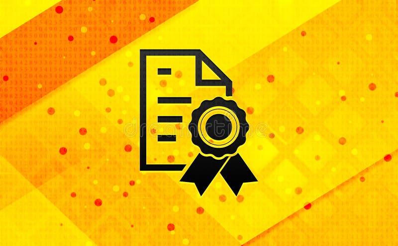 Bakgrund för abstrakt digitalt baner för certifikatpapperssymbol gul vektor illustrationer