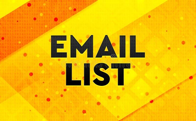 Bakgrund för abstrakt digitalt baner för Emaillista gul vektor illustrationer