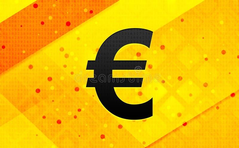 Bakgrund för abstrakt digitalt baner för euroteckensymbol gul royaltyfri illustrationer
