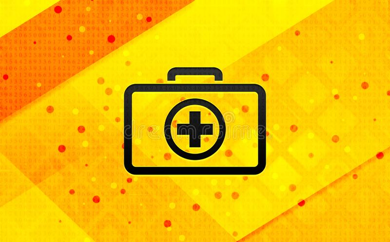 Bakgrund för abstrakt digitalt baner för första hjälpensatssymbol gul royaltyfri illustrationer