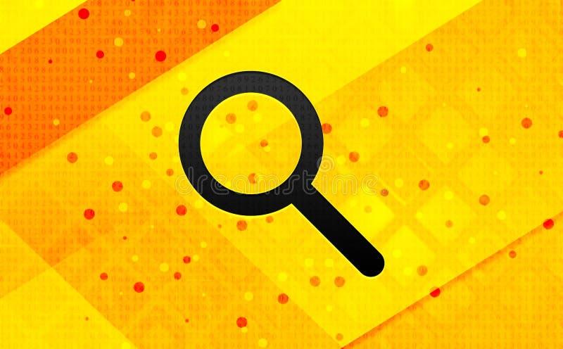 Bakgrund för abstrakt digitalt baner för förstoringsglassymbol gul royaltyfri illustrationer