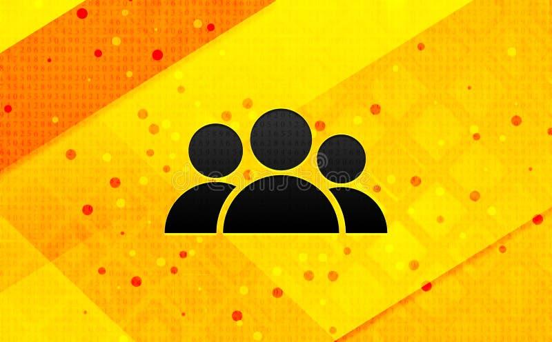 Bakgrund för abstrakt digitalt baner för gruppsymbol gul stock illustrationer