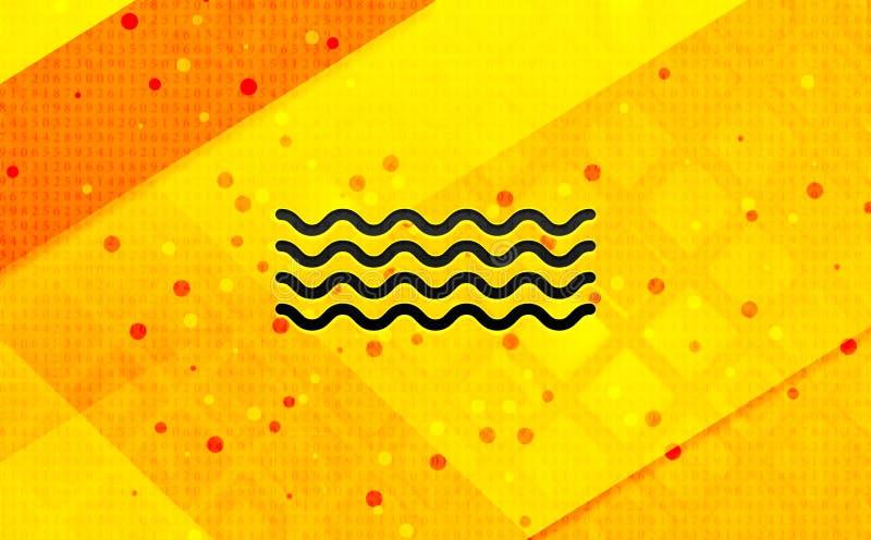 Bakgrund för abstrakt digitalt baner för havsvågsymbol gul vektor illustrationer