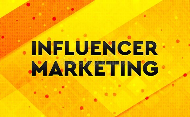 Bakgrund för abstrakt digitalt baner för Influencer marknadsföring gul royaltyfri illustrationer