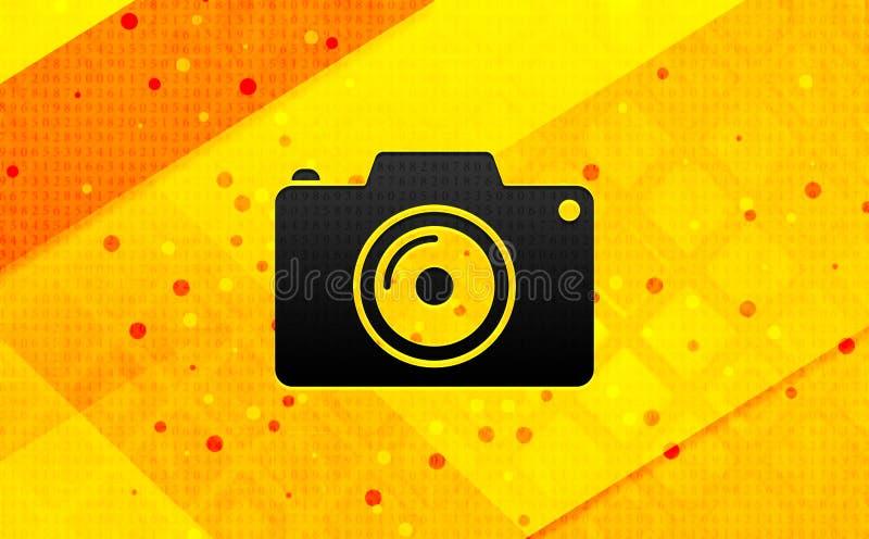 Bakgrund för abstrakt digitalt baner för kamerasymbol gul royaltyfri illustrationer