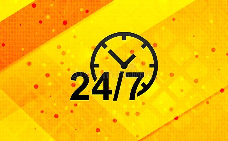 24/7 bakgrund för abstrakt digitalt baner för klockasymbol gula vektor illustrationer