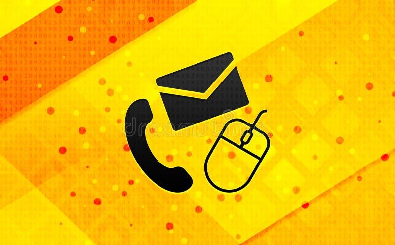Bakgrund för abstrakt digitalt baner för kontaktsymbol gul stock illustrationer