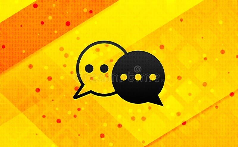 Bakgrund för abstrakt digitalt baner för konversationsymbol gul vektor illustrationer