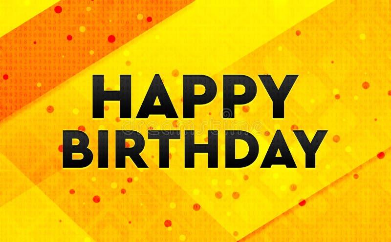 Bakgrund för abstrakt digitalt baner för lycklig födelsedag gul stock illustrationer