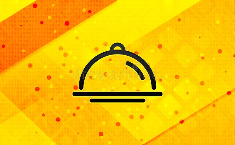 Bakgrund för abstrakt digitalt baner för maträkningssymbol gul royaltyfri illustrationer
